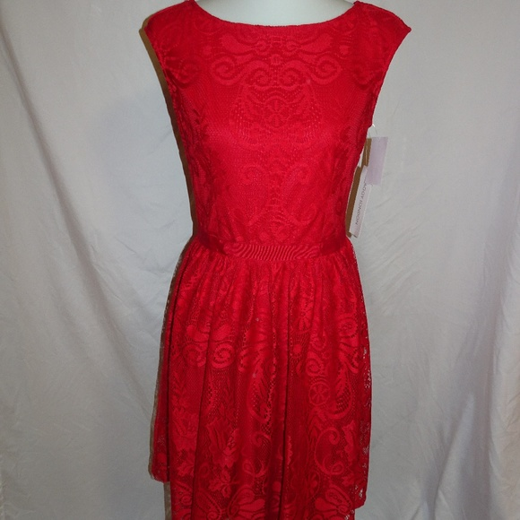 0f2d22e6638 Maggy London Women Red Lace Dress 6 NWT